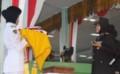 Kapolres Tebingtinggi Pimpin Upcara Penurunan Bendera